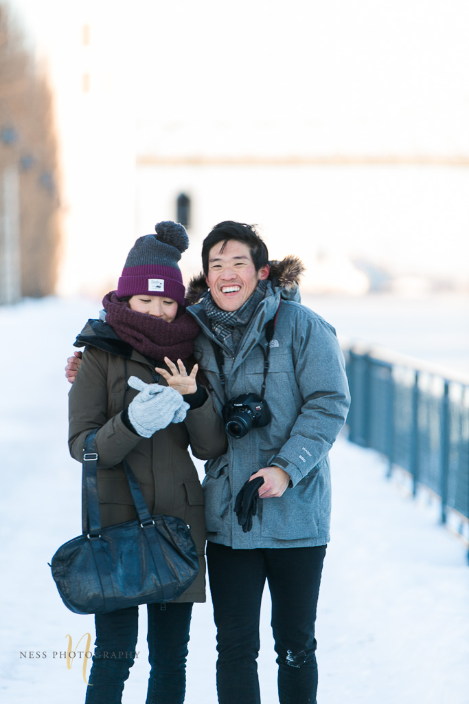 boyfriend proposes in montreal old port in the winter