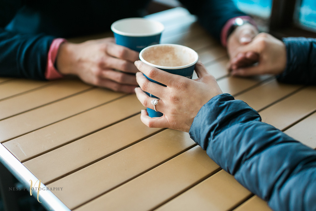 coffee shop engagement photoshoot in montreal old port