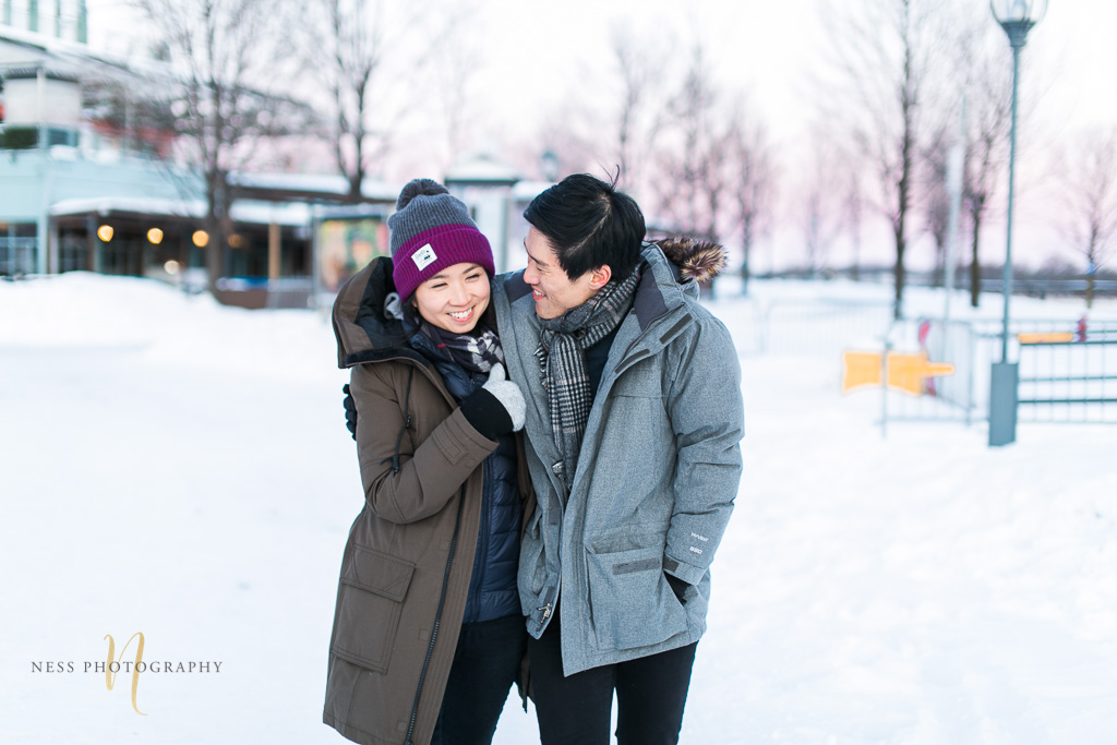 winter sunset engagement photoshoot in montreal old port