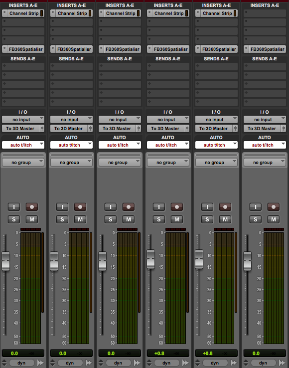An instance of Audio 360 Spatialiser on each track. Note the tracks are in 7.1.