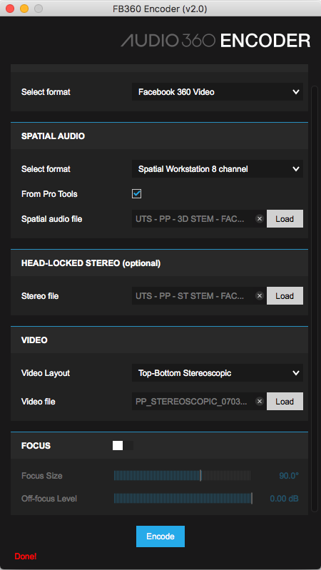 Here you can see the various drop down dialogue boxes for adding each element of the 360 video/audio.