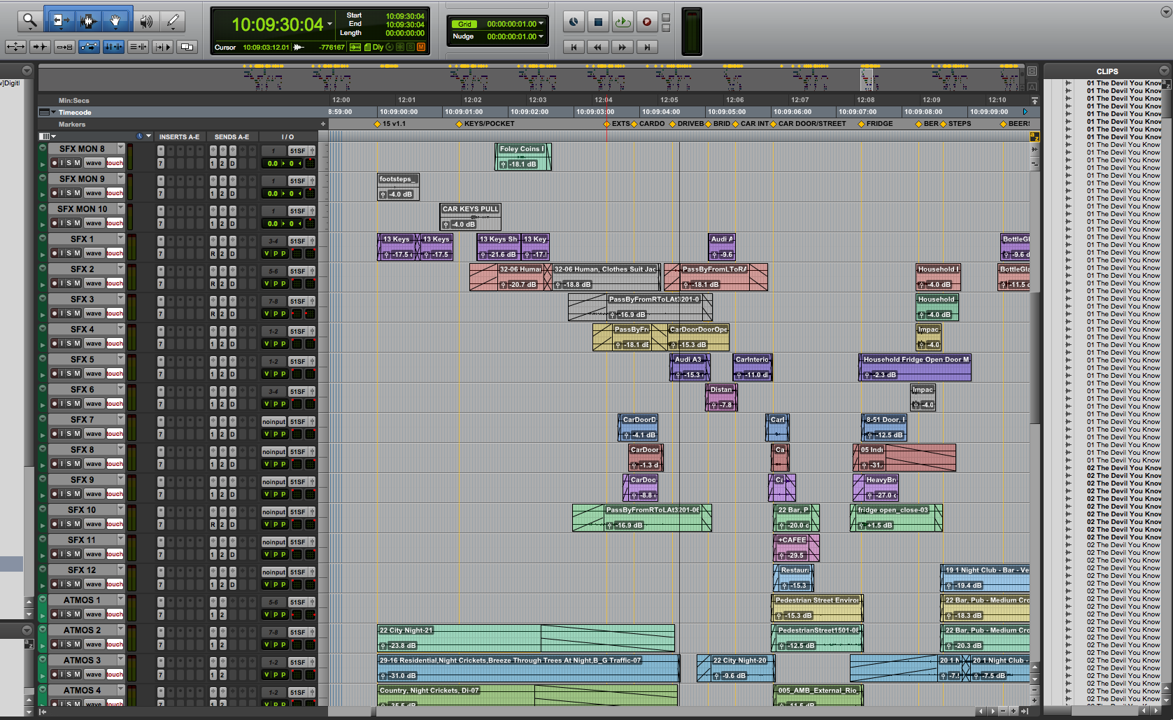 Pro Tools Session after sound design has been added.