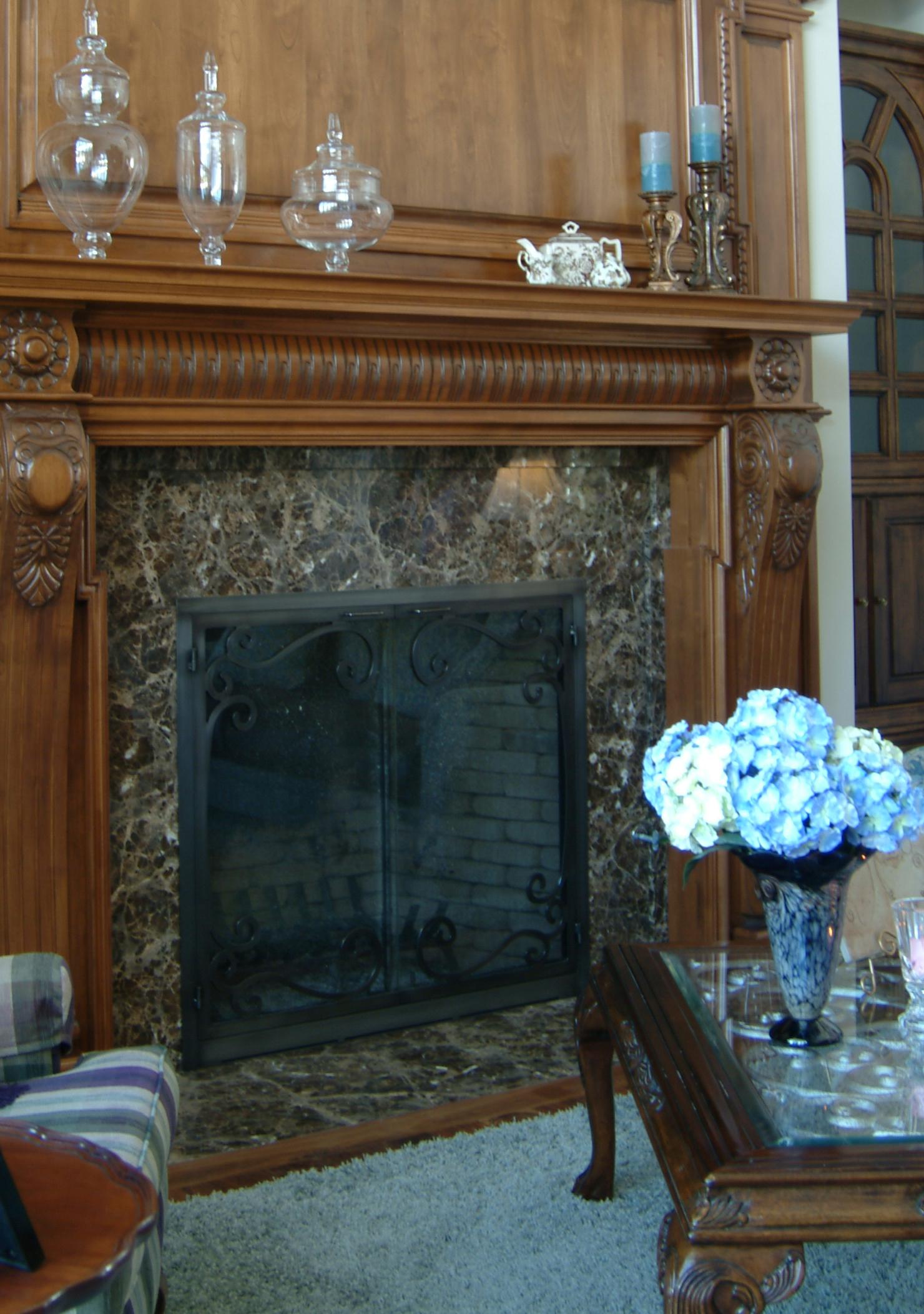Emperador Dark Marble Fireplace Surround