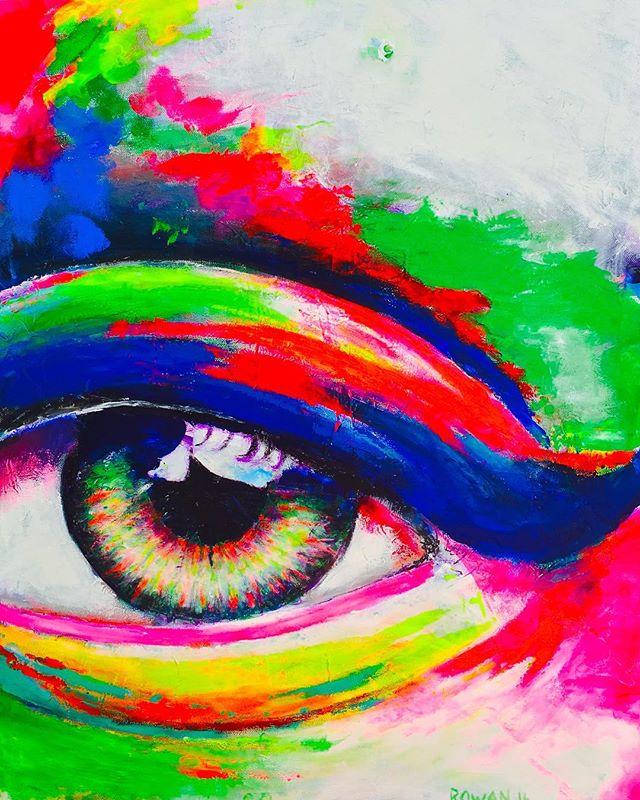 My favorite thing to paint...eyes...they say it all 🙂 • • • • • • #hannahrowanart #vibrant #bigart #eyes #colotfulart #coastaldecor #abstractcolors #colorfulmind  #brightcolors #abstractrealism  #acryliconcanvas #contemporaryart #sandiegoartist #arrtpassion #ratedmodernart #theartshed  #contemporaryartist #pacificbeachart #sdart #retroart #contemporarypainter #modernartpainting #theotherartfair #artcollective #artdaily #bohoart #wallart #bohodecor #interiordesigngoals