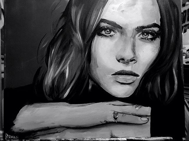 Cara D ☺️ • • • • • • #hannahrowanart #art #bigart  #portrait #originalart  #acryliconcanvas #acrylicpainting #sandiegoartist #ratedmodernart  #painting #modernartpainting #womenartists #celebrityart #sandiegoartists #sdart #socalartist #arte#paintings #wallart #caradelevingne #artprints #portrait #portraitpainting #hyperrealistic #chuckclose #realism #hyperrealism#vogue #vogueitalia #stormmodels