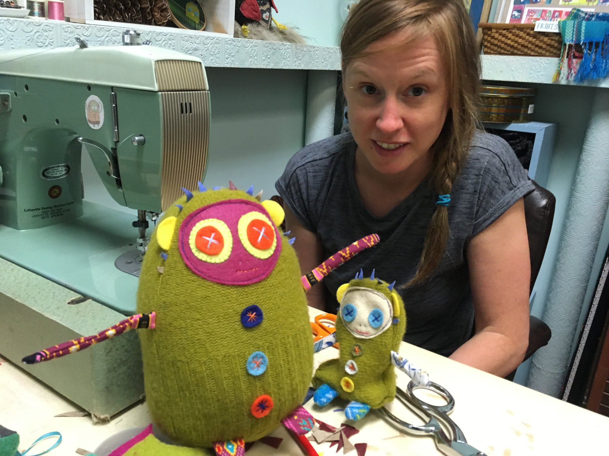 Rachel Hedges and Dolores the Librarian at the sewing machine in the Bebito Studio.