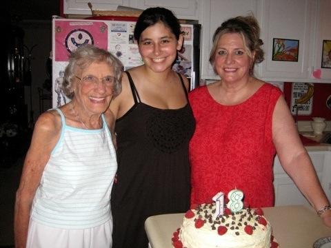 My Mom, Shirley Schroeder Wade Hoffman, my daughter, Katie Scarlett Kaplan and me on July 6, 2009.
