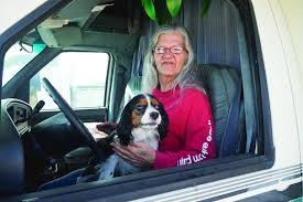 Linda May and her companion, Coco