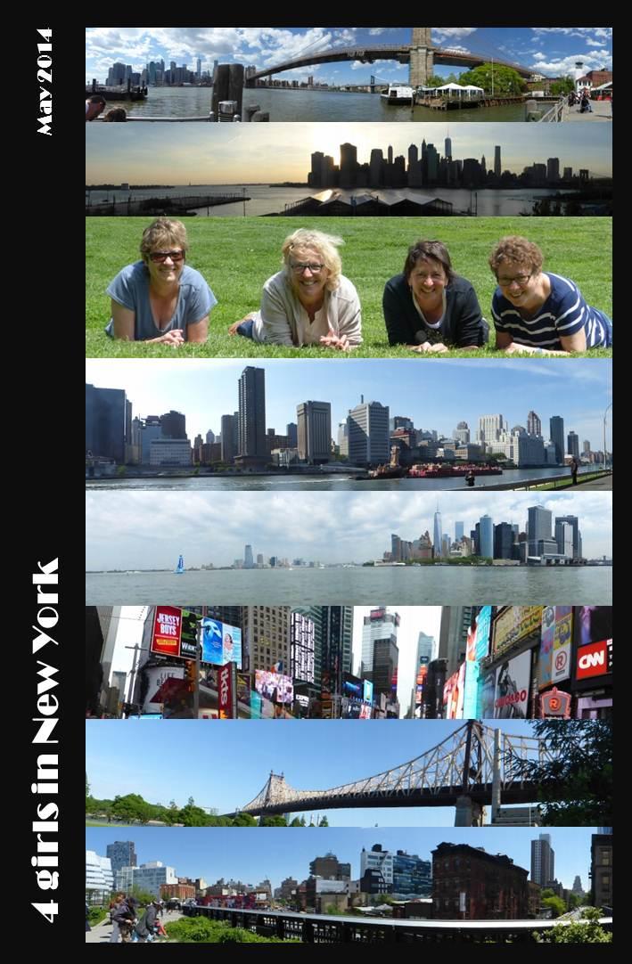 Martine bien entourée sur la pelouse de Pier 1 à Brooklyn, Brooklyn Bridge, Times s]Square, et High Line