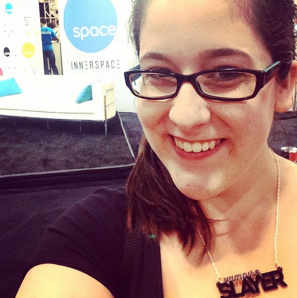 Nerdlife. Selfie outside of the Space Channel booth at FanExpo2014 while also wearing a Buffy the Vampire Slayer necklace.