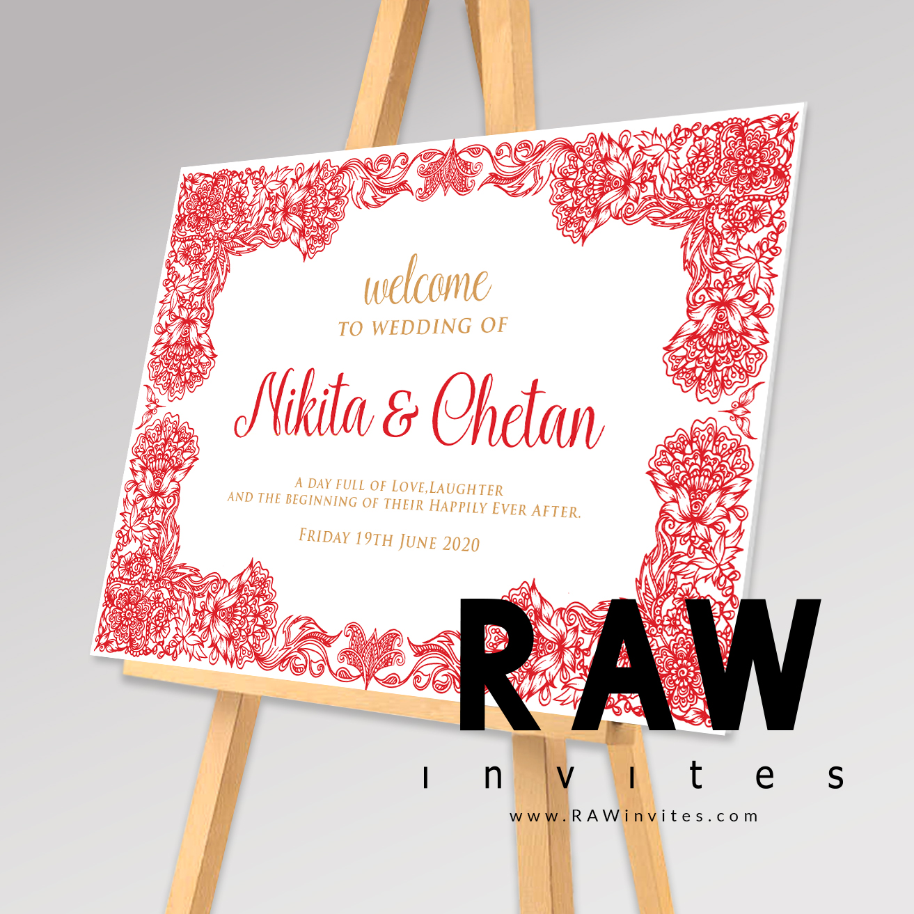Priya - Red - Welcome Board (Colours can be changed)