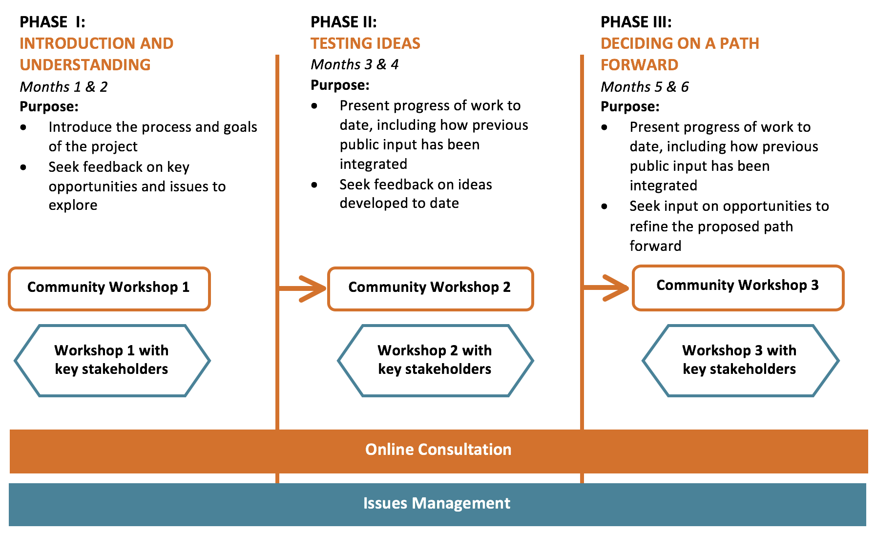 Picture of sample tool for developing an engagement plan. The tactic is divided in three phases: Introduction and understanding; Testing Ideas; and Deciding on a path forward.