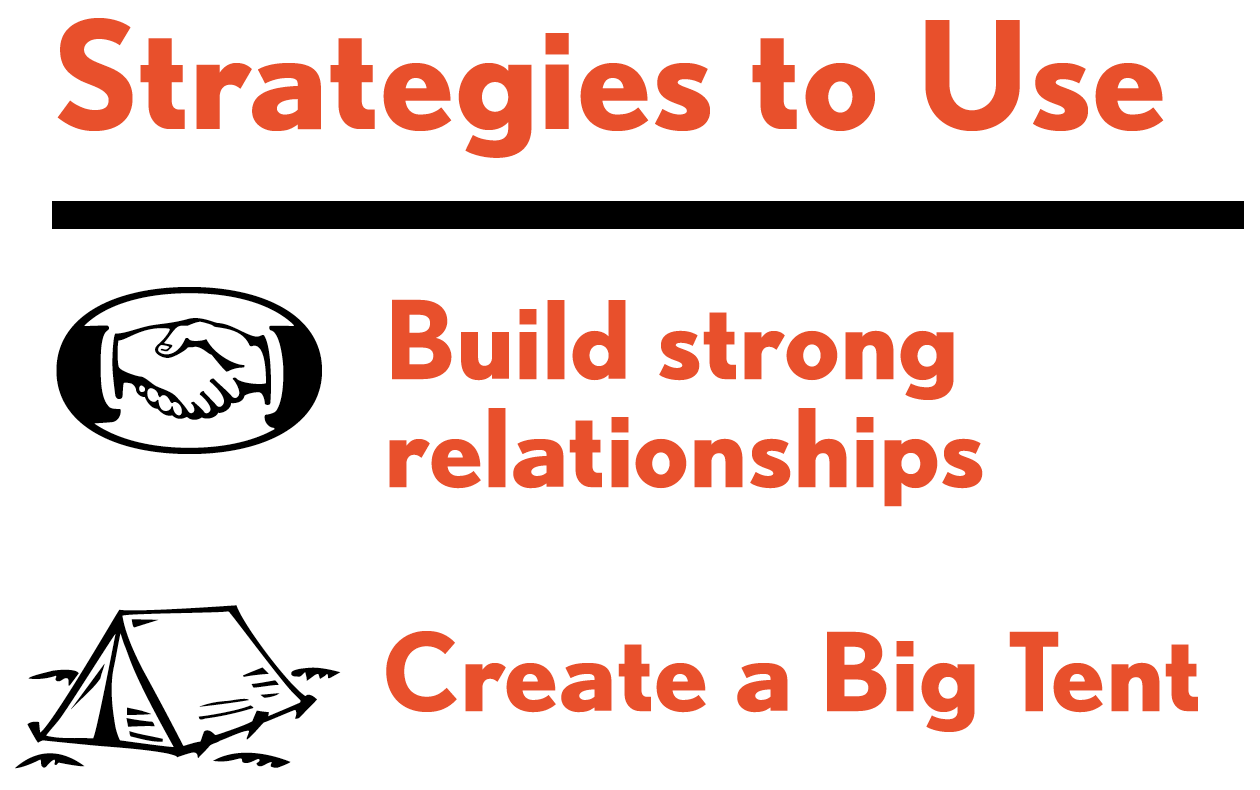 Picture of strategies to use for this tactic. Strategies include: build strong relationships; and create a big tent.
