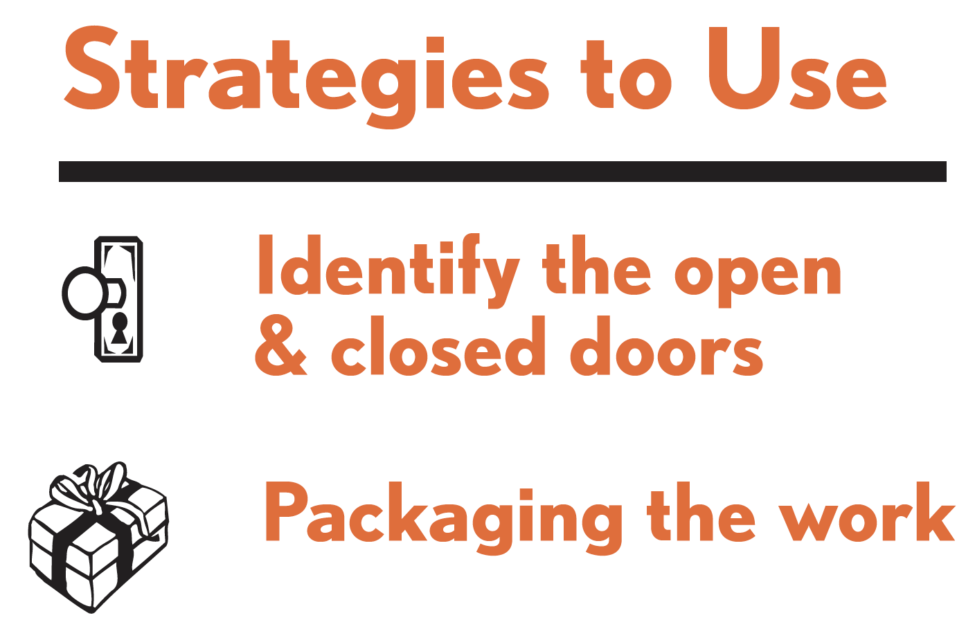 Picture of strategies to use for this tactic. Strategies include: identify the open and closed doors; and packaging the work.