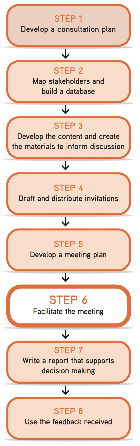 "Picture of steps flow chart, with Step 6 ""facilitate the meeting"" highlighted."