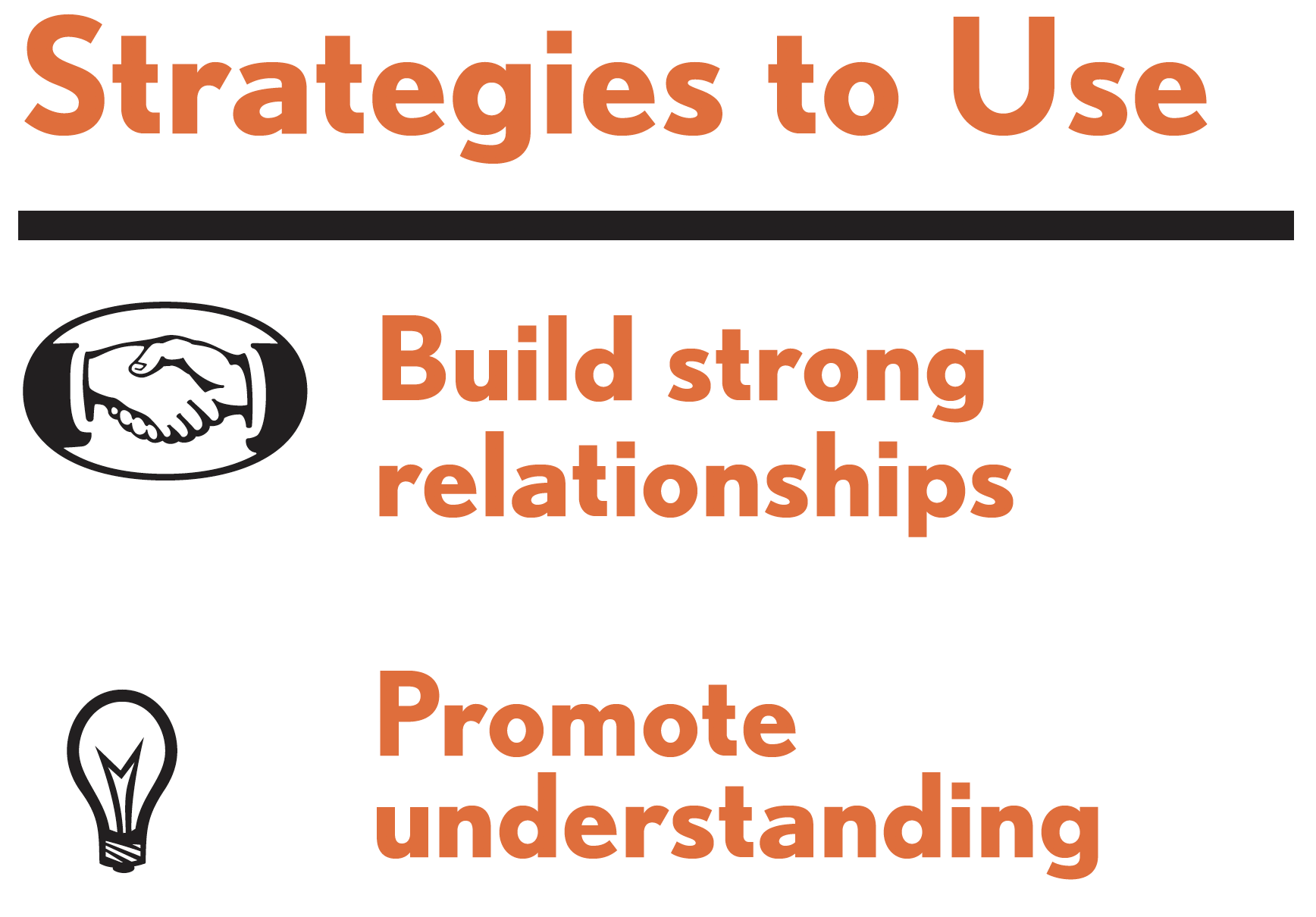 Pictures of strategies to use for this tactic. Strategies include: build strong relationships; and promote understanding.