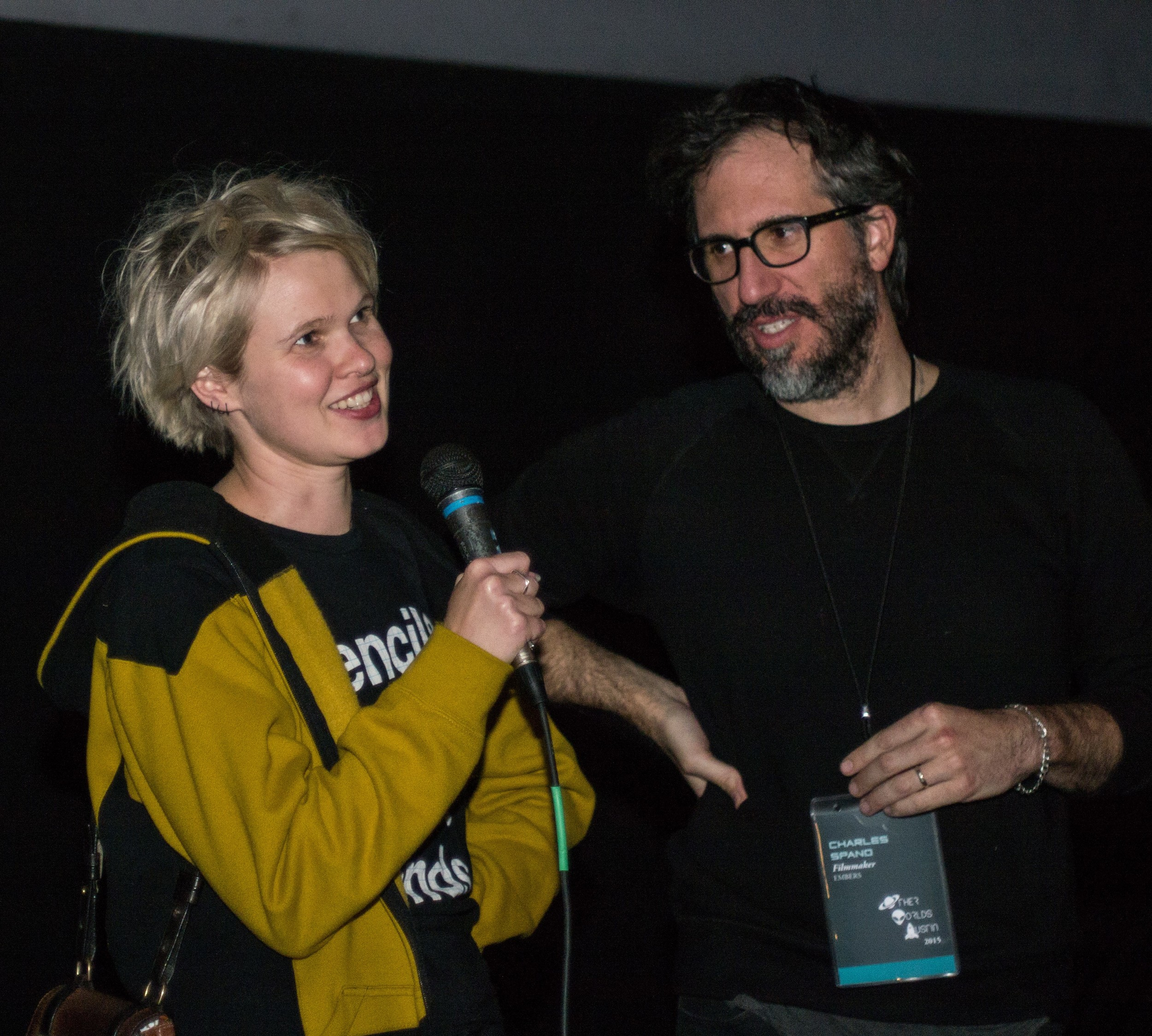 Claire & Charles chatting with the Other Worlds Austin audience during the EMBERS Q&A