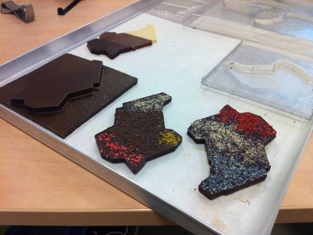 Chocolate mold testing, hand made of fine french and belgian chocolates.