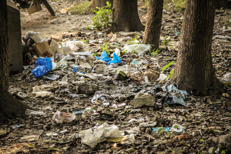Hazardous medical waste littering the public area around the hospital