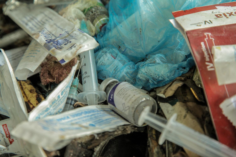 Closeup of medical waste pile