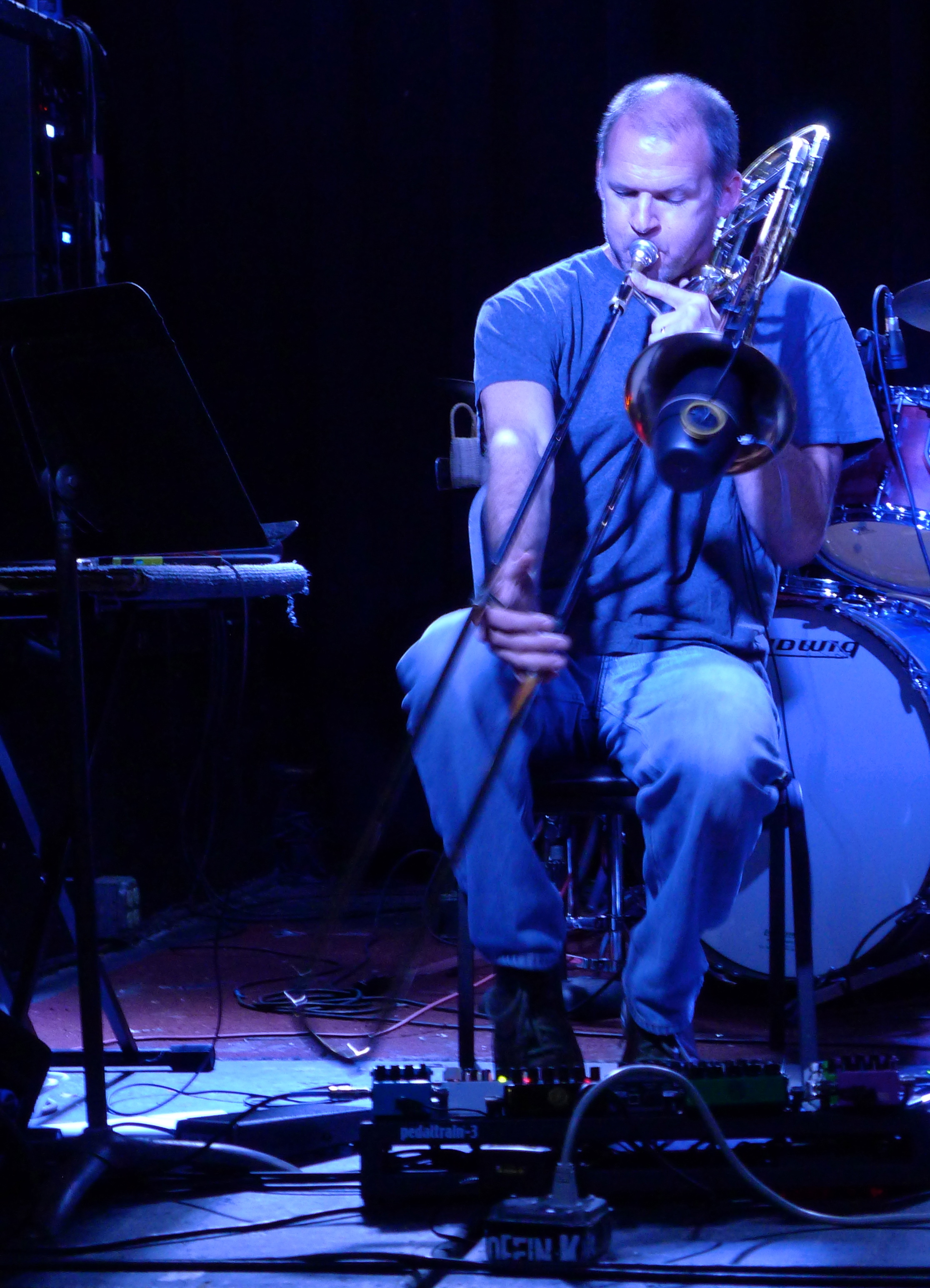 Playing Electric Trombone at The Frequency- Madison, WI (photo by Angela Villa)