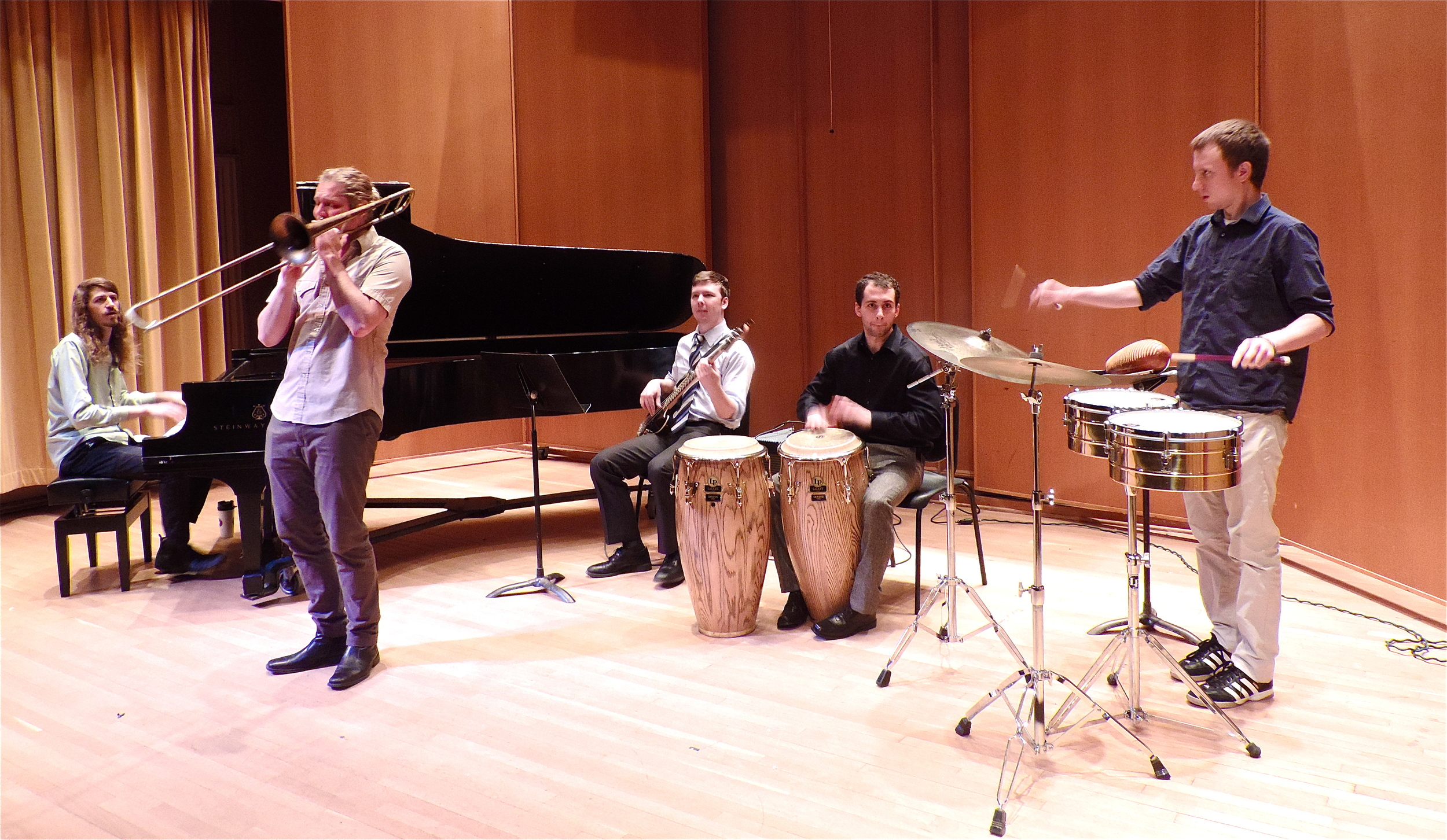 Ty Peterson (BM- '14, trombone) with his Independent Studies Latin jazz ensemble