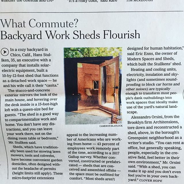Little shed big City. We got mentioned the New York Times design section today! 💥