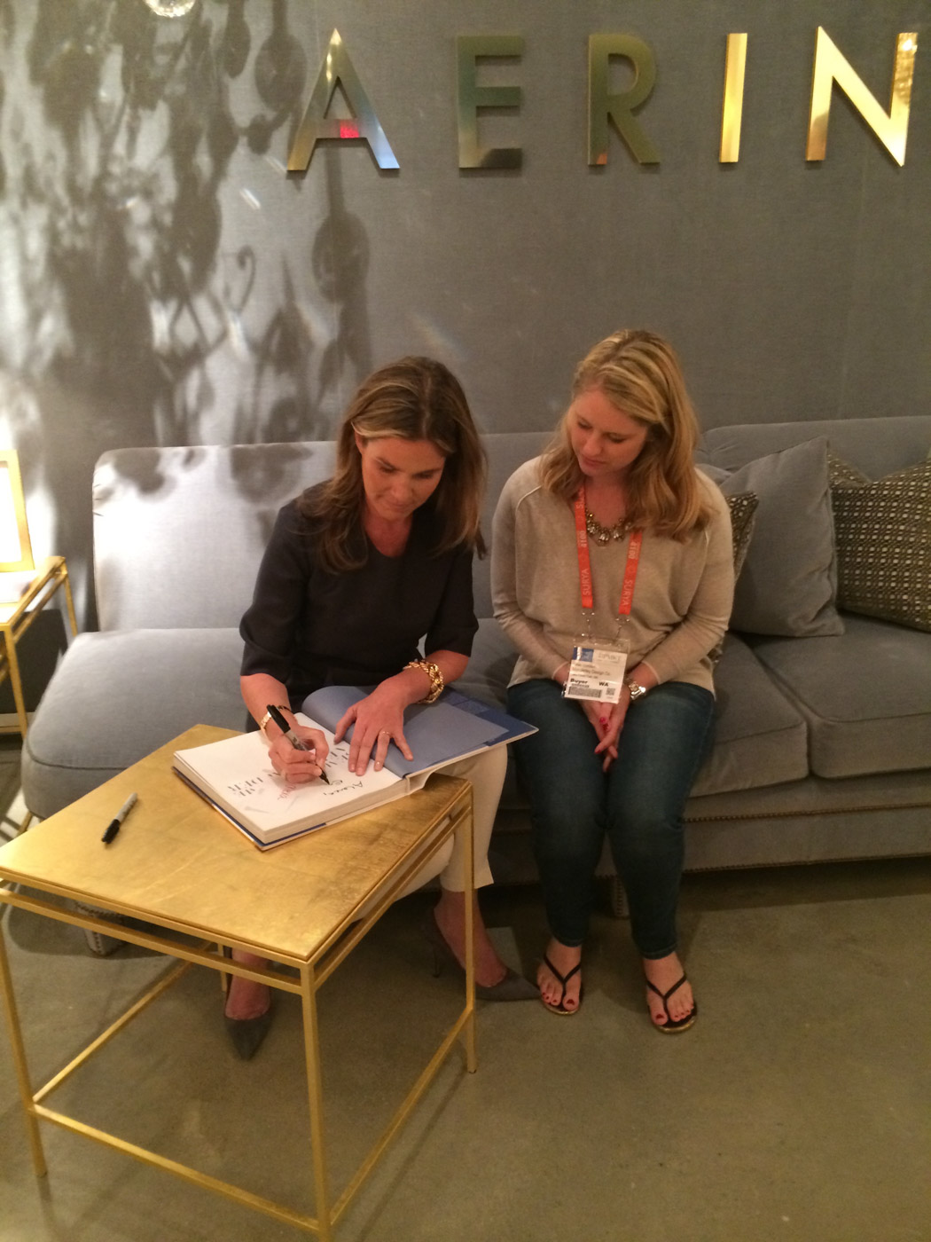 Just hanging out with Aerin Lauder, the lady who designs killer shoes, while I wear rubber flip flops because me feet are shredded tatters by this point! Oh, she is so beautiful and elegant.