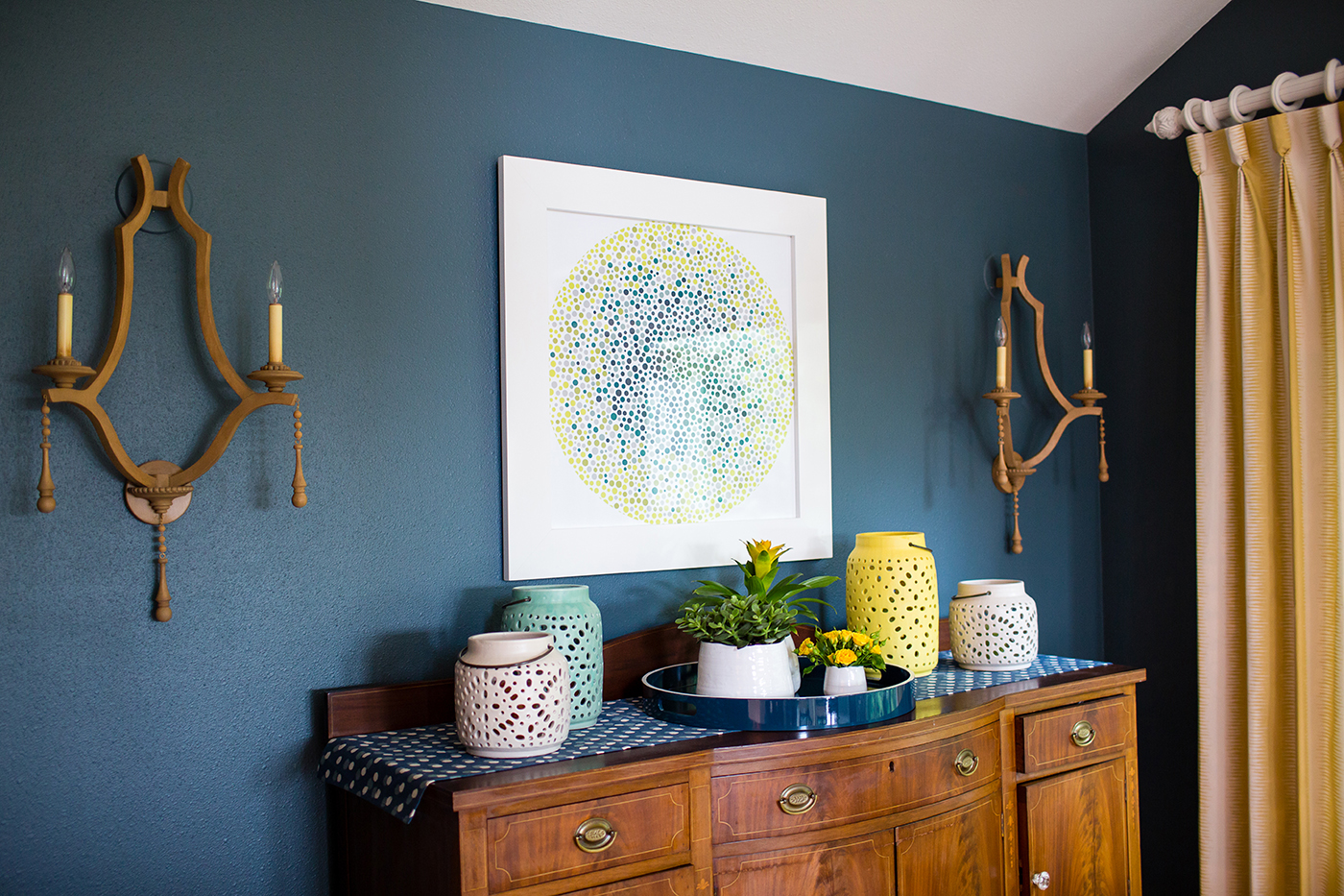 Colorful dining room remodel by Manderley Design Co.