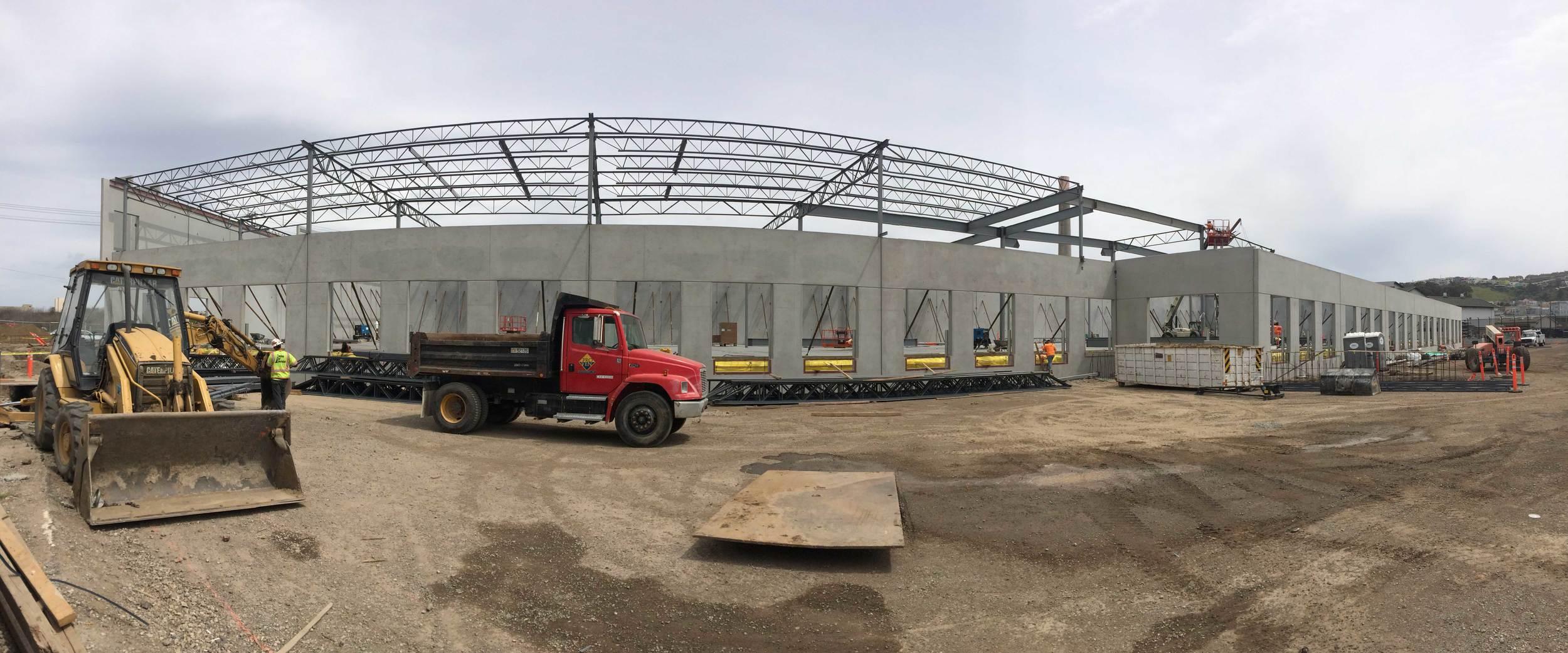 Concrete tilt up panels and structural framing at Loading Docks