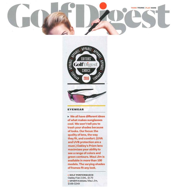Oakley receives Golf Digest Editor's Choice Award for Best Eyewear 2016