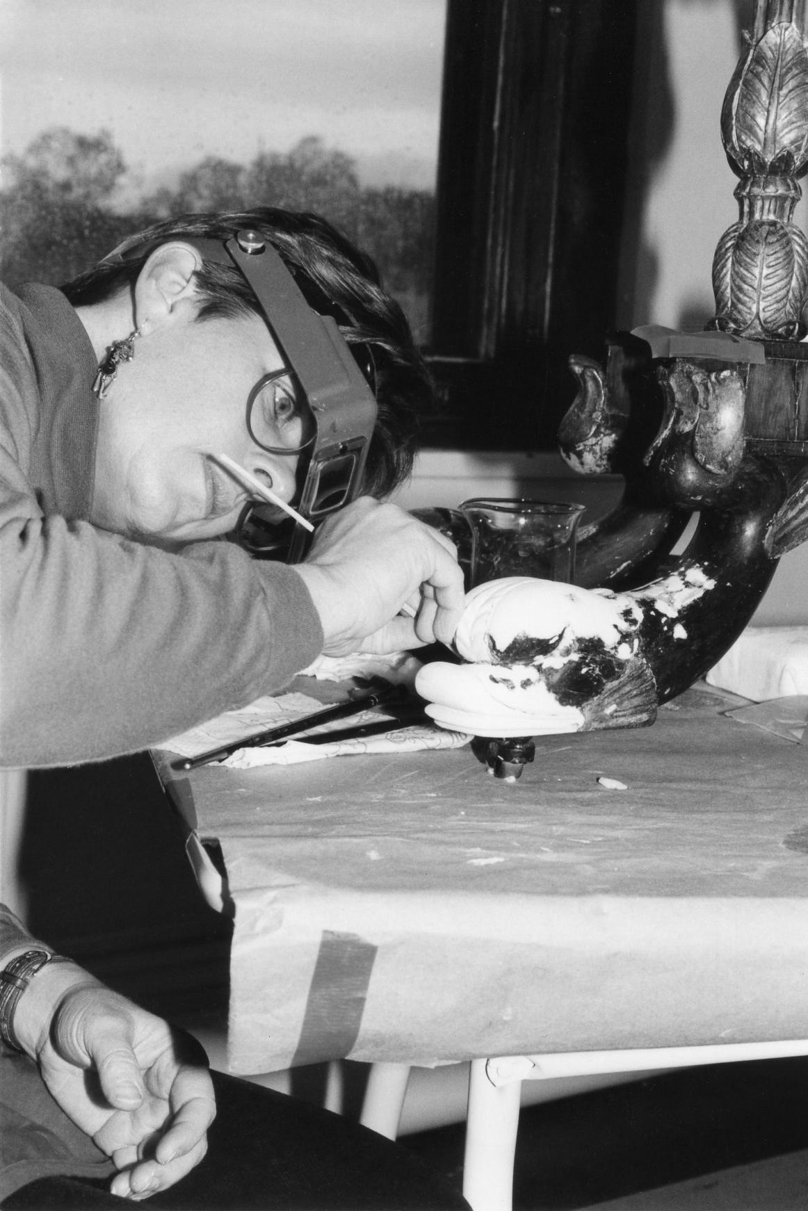 Restoringdolphin foot on Charles-Honnore Lannuier cardtable