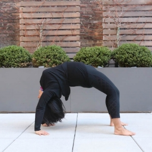 Wheel pose is way out of normal ROM for wrist flexion,  shoulder flexion and spinal extension. Poses like this need to be worked up to slowly and with caution,