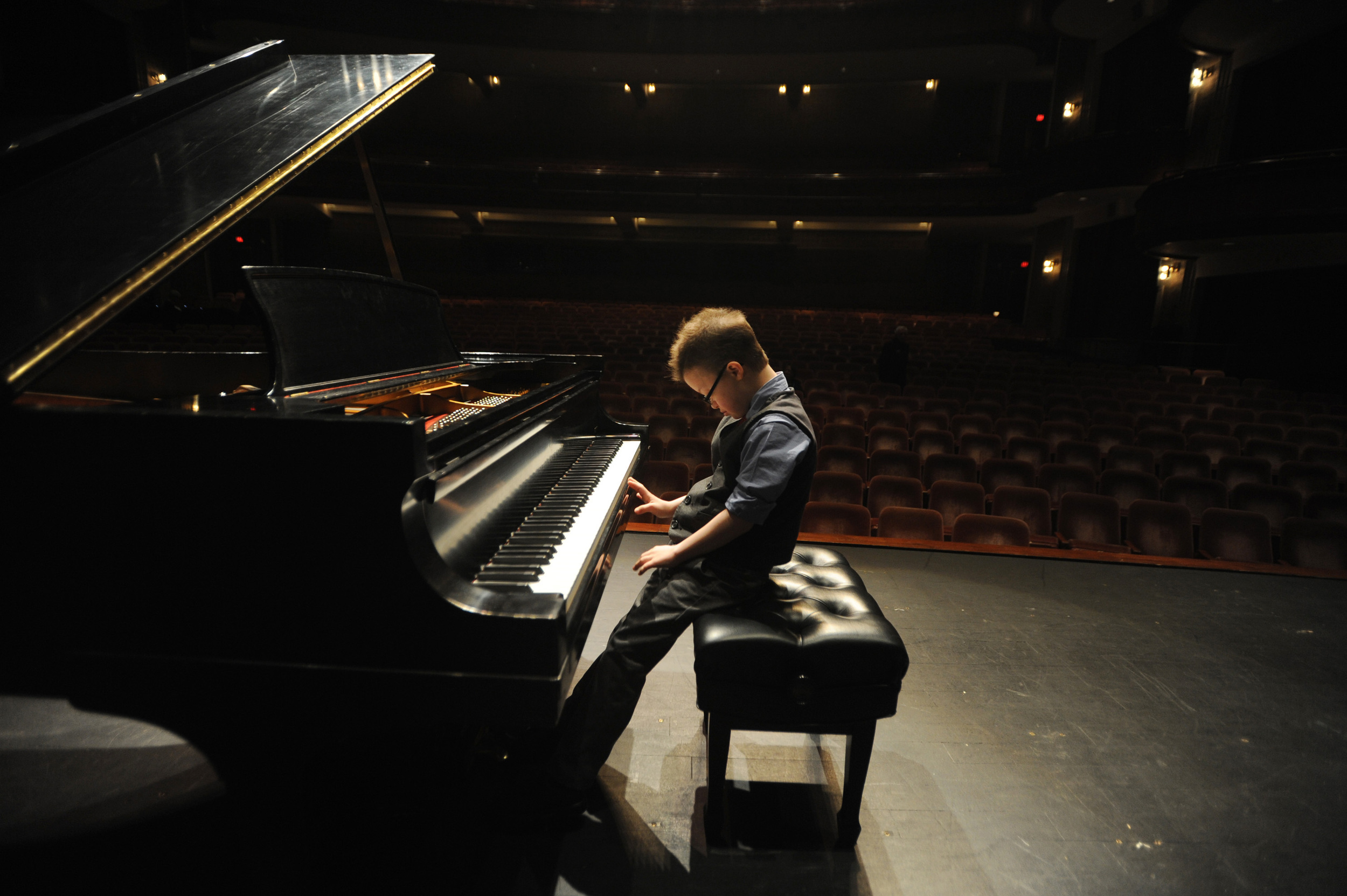 Peter Rosset, 11, who has been diagnosed with acute lymphoblasic leukemia, gives a private piano performance for Greenville Symphony Orchestra Conductor Edvard Tchivzhel at the Peace Center.  Rosset's Make-A-Wish Foundation wish is to receive a baby grand piano.  (March 25, 2012)