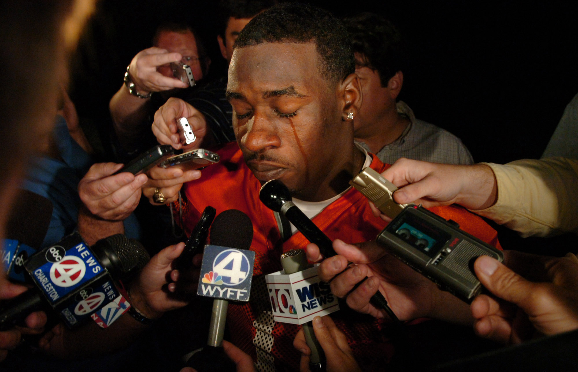 Clemson University football player James Davis reacts to the news that Coach Tommy Bowden will no longer be coaching the team.  (October 13, 2008)