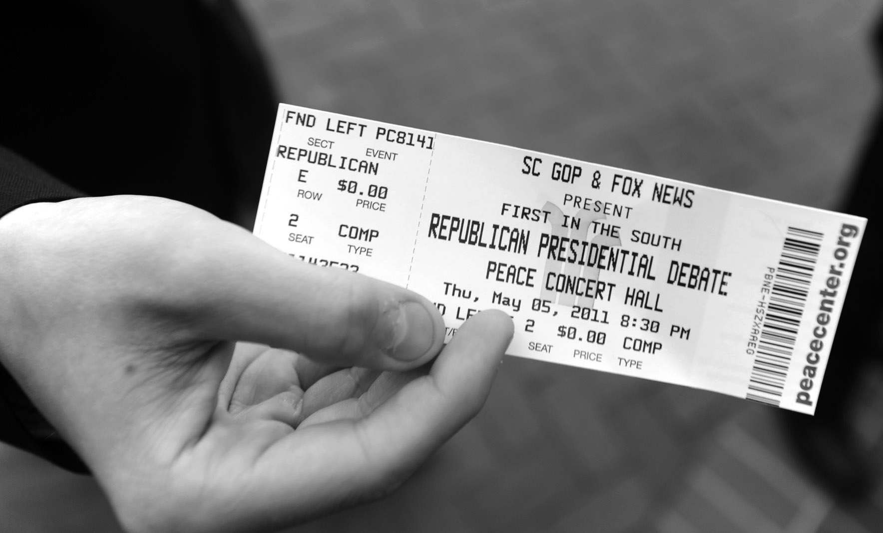 A ticket for the South Carolina republican presidential debate is presented at the Peace Center in Greenville, S.C.