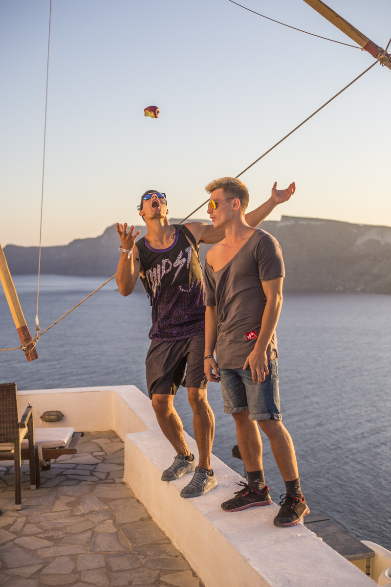 Mich and Vova in Oia. The best Sunsets here.