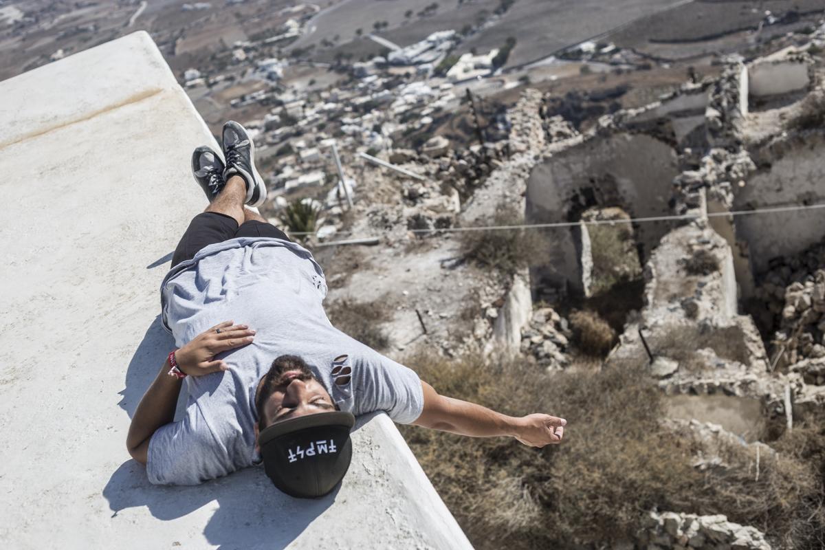 Gabe Nunez taking a nap on top of a church in Pyrgos.
