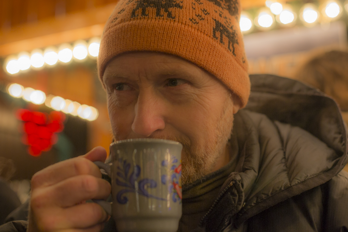 Martin Paul drinking Glühwein.