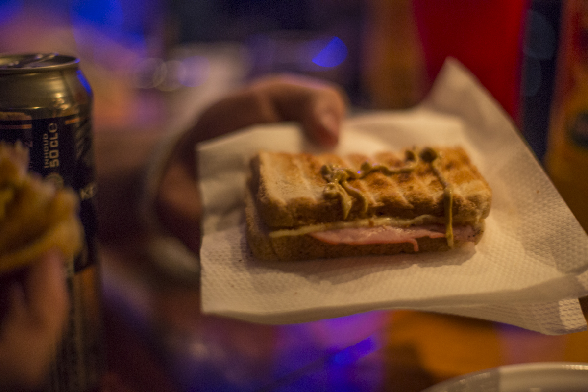 Toasties were available at the bar. Ham and cheese on toasted bread, this one with mustard.