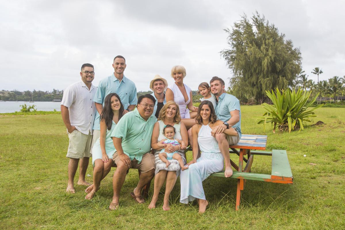 September 2016 - Kauai, Hawaii - Kyle Maeda, Christin Kershner, Jason Paul, Emily Dyan Ibarra, Hendrix Mae Sunzeri, Ken Sunzeri, Stephanie Maeda, Scott Maeda, Karla Maeda, Nixon Love Sunzeri, April Sunzeri.  Click to see Vlog. Photo by: Jessica Lynn Elderkin