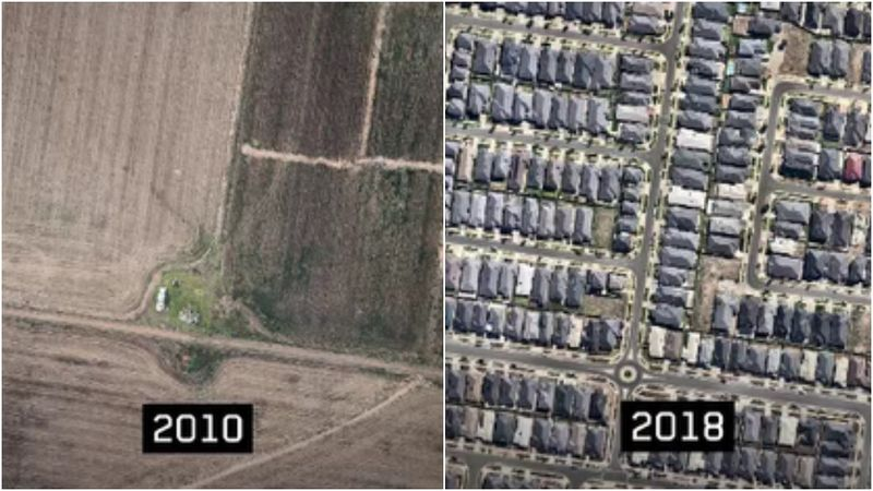 An aerial image of Point Cook's population spike over eight years. (9NEWS/Near Maps)
