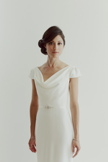 The bride picture perfect in the  Charlotte  wedding gown.