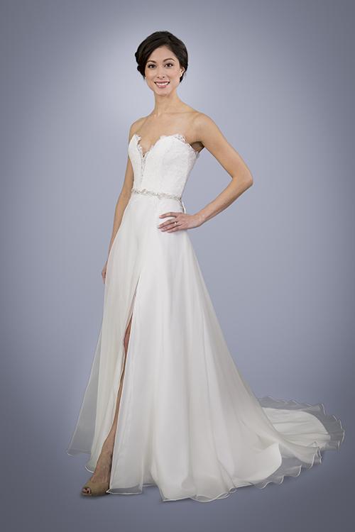 Strapless A Line Silk Wedding Gown
