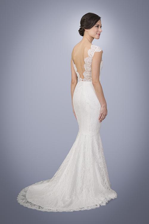 Azalea Lace V Neck Wedding Dress With Cap Sleeves Trish Lee