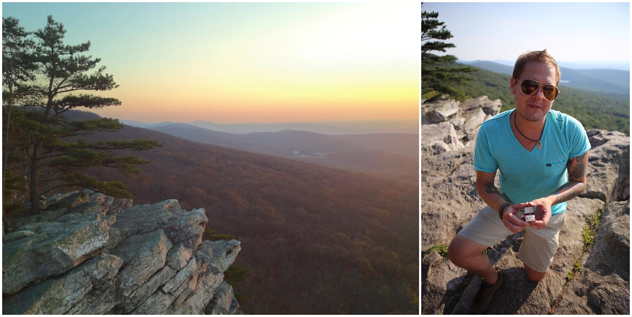 Left, the view from a sunset hike at Annapolis Rocks. Right, Andrew proposing.