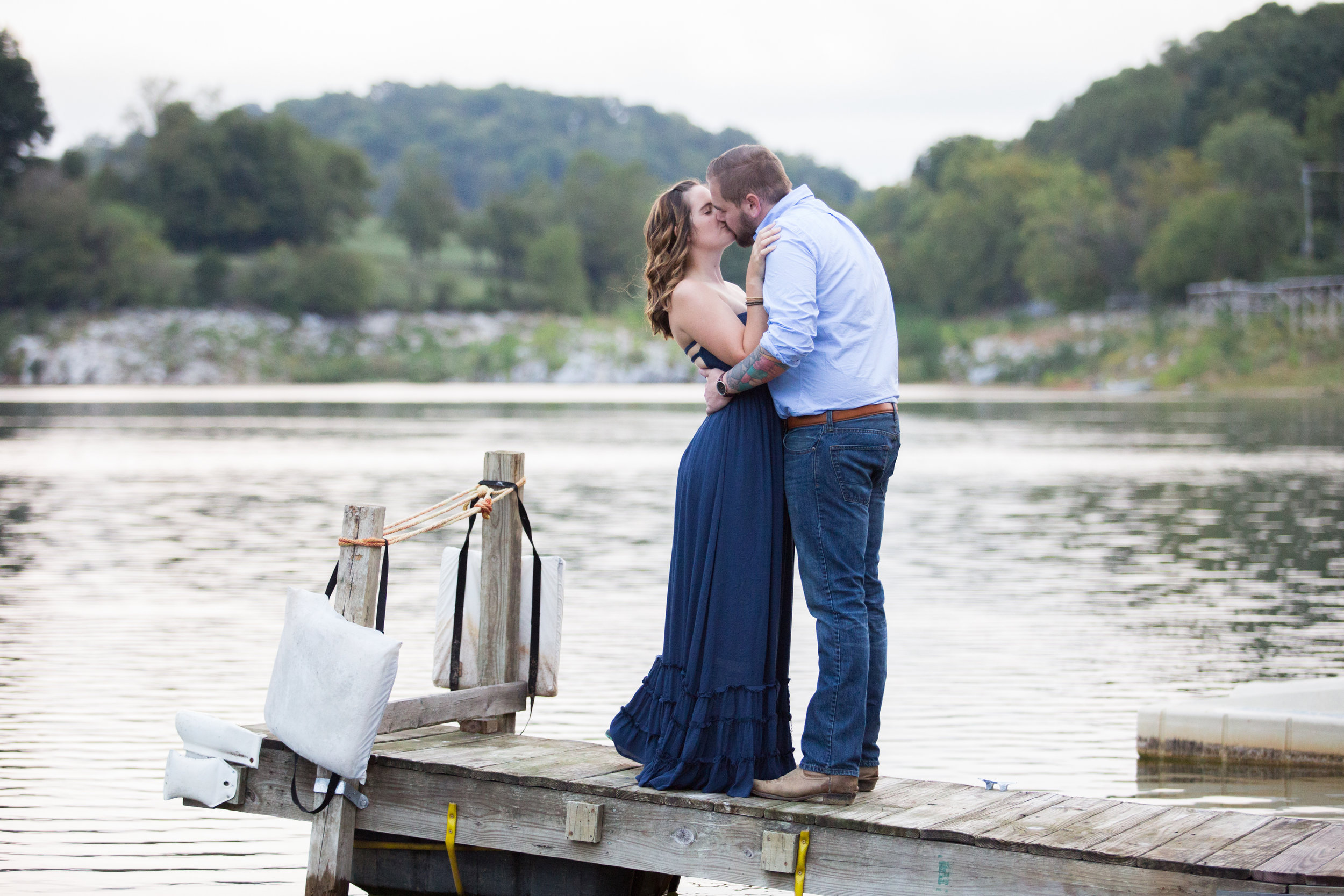 Anniversary photos on the lake.