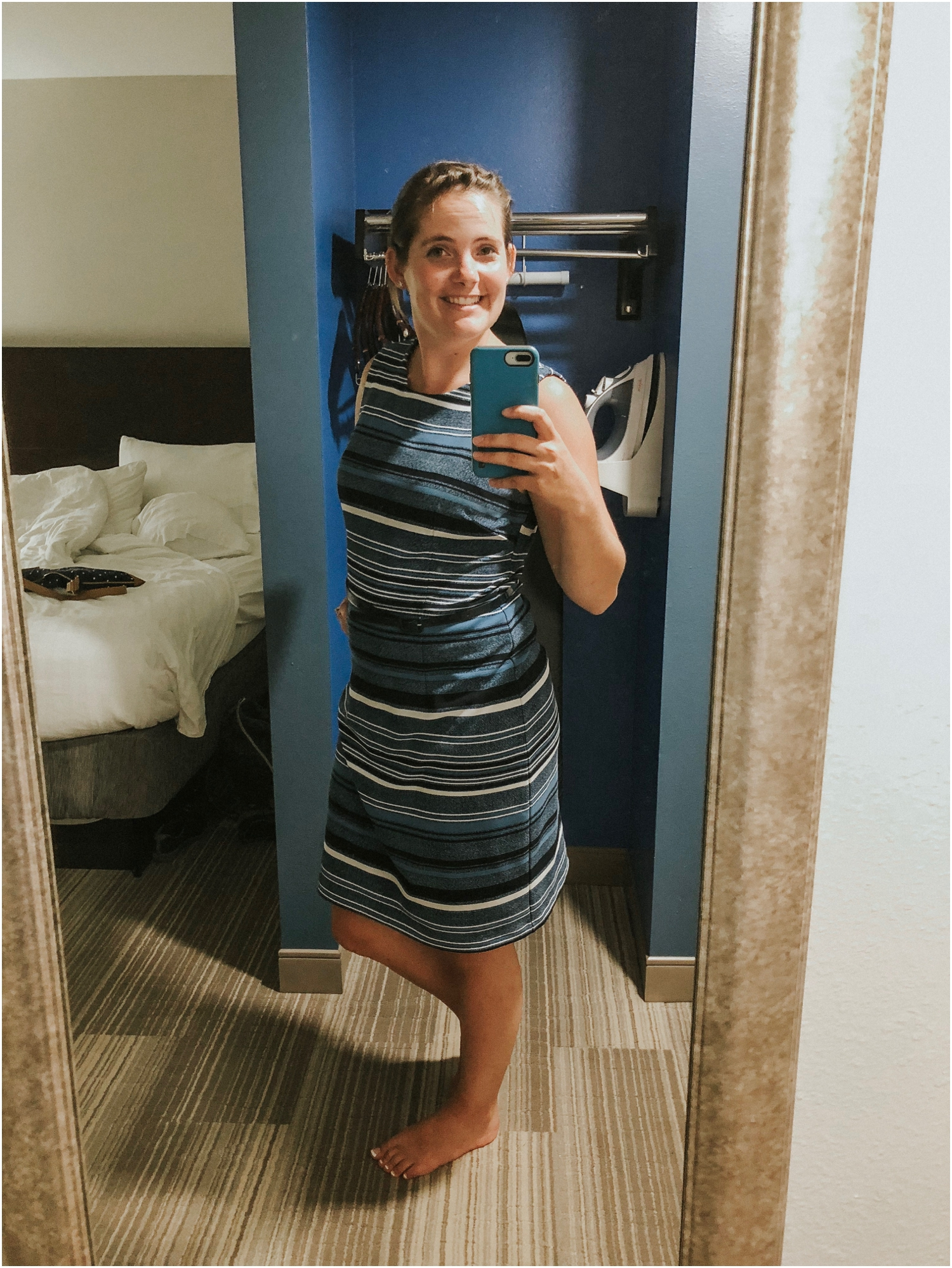 Last year, I only had two dresses that I wore all year. This year, I had a rotation of 4-5 new ones! Obviously, I was excited to wear this blue one that matched the hotel room.