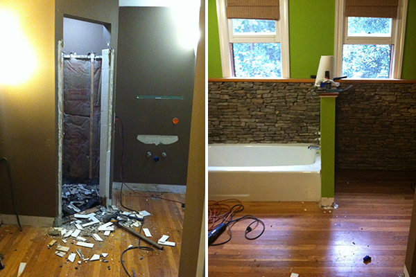 master bath demo - first of all, what is that stench?? that can't be good. second, just take it away.