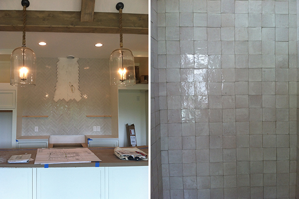 work in progress at maison zen glam, which is done now, but i haven't taken professional photos, yet. foundation brick in a herringbone pattern in the kitchen and idris moroccan style tile in the master shower!!!